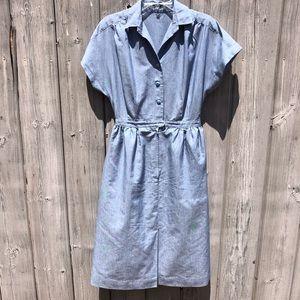Vintage Blue Collared Linen Dress